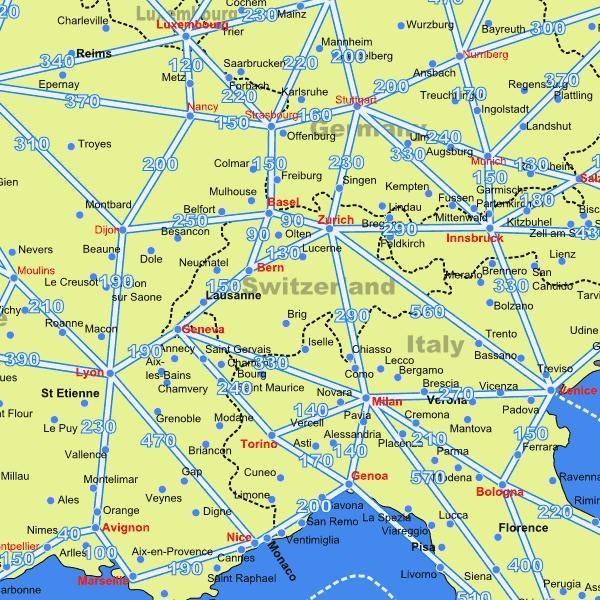 karta udaljenosti Karta Švicarskoj s udaljenosti kartica Švicarskoj kartica s  karta udaljenosti